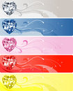 5 Diamond Heart Banners Stock Photo