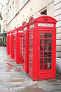 5 phone boxes Stock Photo