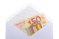 An 50 euro banknote in an envelope Stock Images