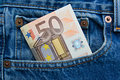 50 euro note in a blue jeans pocket Stock Image
