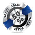 50% sale badge with blue arrow ribbon Stock Photography