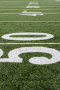 50 Yard Line On Football Field Royalty Free Stock Photo