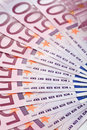 500 Euro bank notes fanned out Royalty Free Stock Image