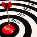 50Percent On Dartboard Shows Big Savings Royalty Free Stock Photos