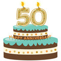 50th Anniversary Cake with Candles Royalty Free Stock Photography