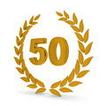 50th Anniversary Golden Laurel Wreath Royalty Free Stock Photo