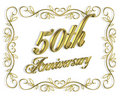 50th Anniversary Invitation 3D illustration Royalty Free Stock Photo