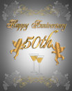 50th Wedding anniversary Invitation 3D Royalty Free Stock Photo