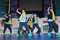 6 members breakdance team SM - Super Girls Stock Photo