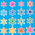 6 Sides Snowflakes Set_eps Stock Photography