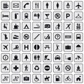 64 different icons, pictogram - grey Royalty Free Stock Photos