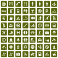 64 different pictograms green Royalty Free Stock Photo