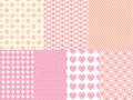 7 Heart and Eyelet  Background Swatches Royalty Free Stock Photo