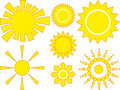 7  icons of yellow sun in various designs Stock Photos