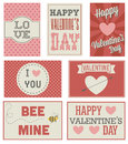7 vintage and modern Valentines day cards  Royalty Free Stock Photos