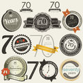 70 years anniversary signs and cards collection Royalty Free Stock Image
