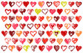 74 sketchy hearts Royalty Free Stock Photos