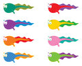 8 colorful tadpoles Stock Photo