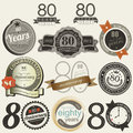 80 years anniversary signs and cards collection Royalty Free Stock Photography