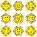 9 cartoon action icon of sun Royalty Free Stock Photos