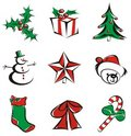 9 christmas icons Stock Photos