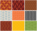 9 different seamless pattern Royalty Free Stock Image