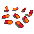 9 gloomy pop shaded pills with drop shadow Royalty Free Stock Photo