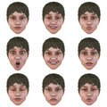 9 (nine) emotions with one face Royalty Free Stock Image
