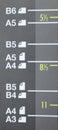 A3, A4, A5, B4, B5,在激光影印机的B6 库存图片