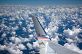 Aa com wing in the sky american airline banking clouds Stock Photo