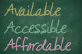 Aaa for available accessible and affordable written on chalkboard Royalty Free Stock Images