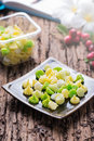 Aalaw candy dessert thai in cool tone pastel color on wood background selective focus Stock Photos