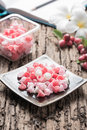 Aalaw candy dessert thai dessert in cool tone pastel color on wood background selective focus Royalty Free Stock Photo