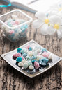 Aalaw candy dessert thai dessert in cool tone pastel color on wood background selective focus Royalty Free Stock Images