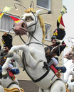Aalst carnival belgium march unknown costumed participant rides on a float in the annual parade the is recognized Stock Image