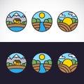 Aardlandschap logo template set Royalty-vrije Stock Foto
