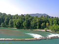 Aare river dam in berne bern with the symbol of bern bear the or aar all municipalities passed by the speak german is a Royalty Free Stock Photos