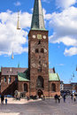 Aarhus central square and cathedral denmark the of is a beloved pedestrian area with a magnificient view of the dominating tower Stock Images