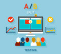 Ab comparison test computer and feedback research and planning vector illustration Stock Image