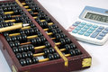 Abacus, brush and  calculator Stock Image