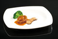 Abalone and goose liver Stock Photo