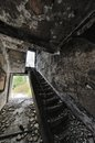 Abandon house ruins architecture fallen stairs Stock Photo