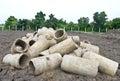 Abandon old drainage pipe on ground Stock Images