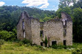 Abandon stone building under a cloudy blue sky Royalty Free Stock Images