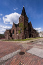 Abandoned Baptist Church and Red Brick Streets - McKeesport, Pennsylvania Royalty Free Stock Photo