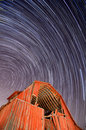 Abandoned Barn and Star Trails Stock Images