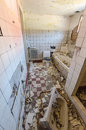 Abandoned bathroom with debris Royalty Free Stock Photo
