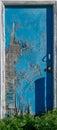 Abandoned Blue Cracked Peeling Door Royalty Free Stock Photo