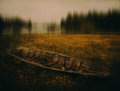 Abandoned boat in field Royalty Free Stock Photo