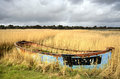 Abandoned boat in reeds rusty old shipwrecked and bandoned on salt marshes poole harbour dorset Royalty Free Stock Photo